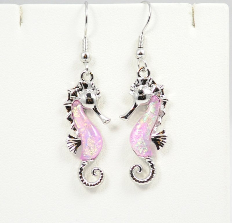 Sea Horse in Beach Pink Earrings