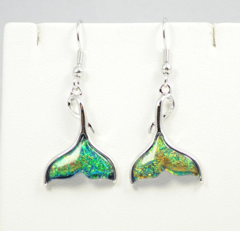 Mermaid's Tail Dark Green Earrings