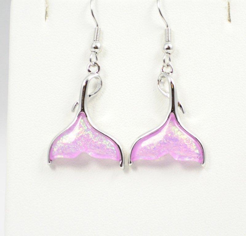 Mermaids Tail Beach Pink Earrings