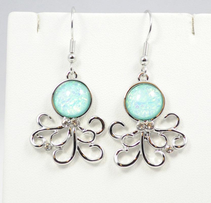 Octopus Light Blue Earrings