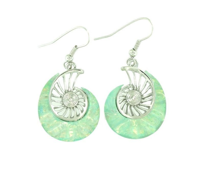 Nautilus Light Blue Earrings