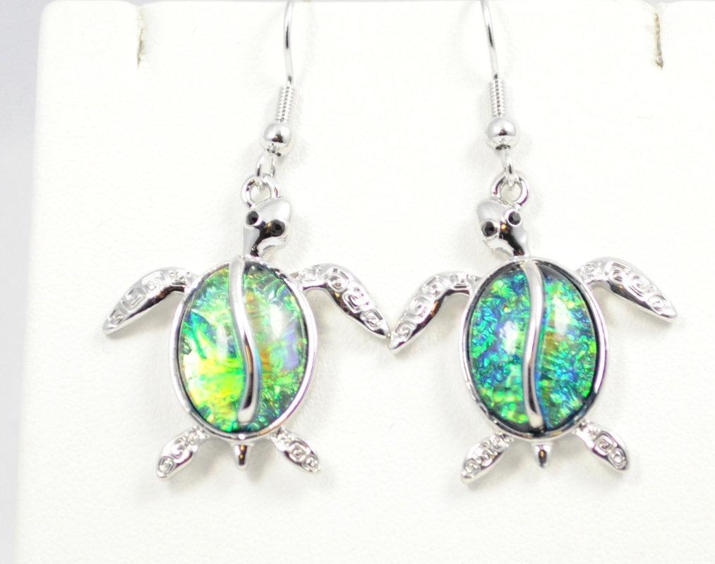 Sea Turtle in Dark Ocean Green Earrings