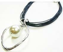 Leather Necklace With Oval/Pearl Pendant