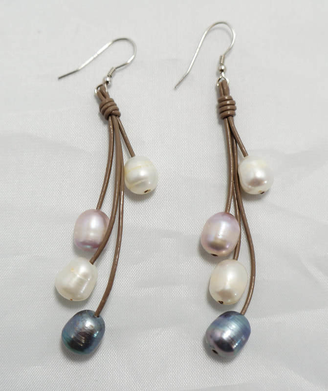 Tan Leather With Multi-Color Fresh Water Pearls