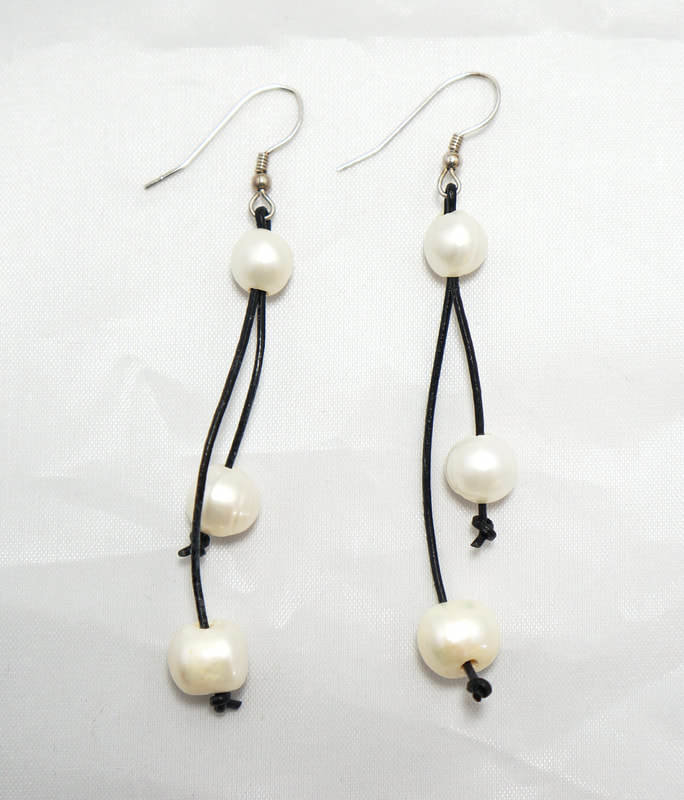 Black Leather with Two White Fresh Water Pearls
