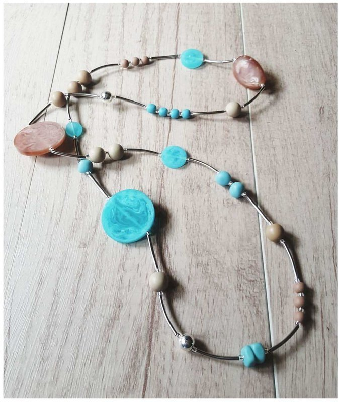 Stainless Steel Turquoise Brown Handmade Beads