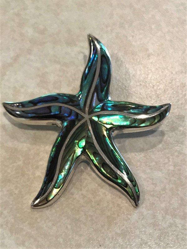 Sterling Silver Handmade Abalone Starfish Pemdant