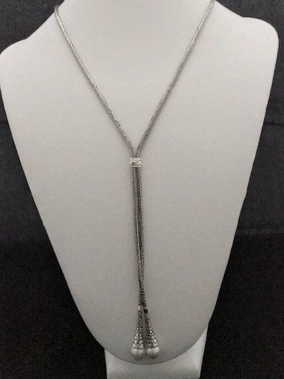 Sterling Silver Lariat Mabe Pearl Necklace