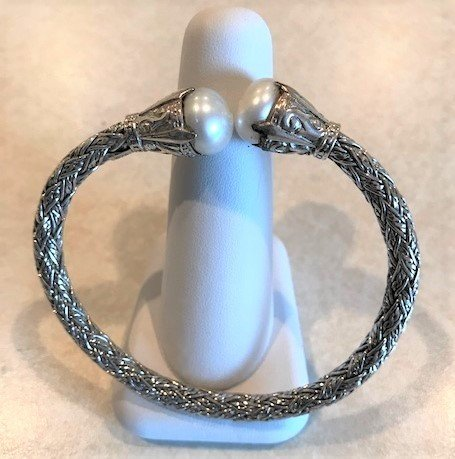 Sterling Silver Braided Leaf Mabe Pearl Bangle