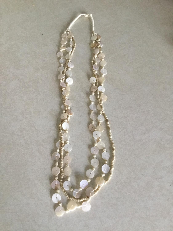 Tan Shell  Beaded Necklace