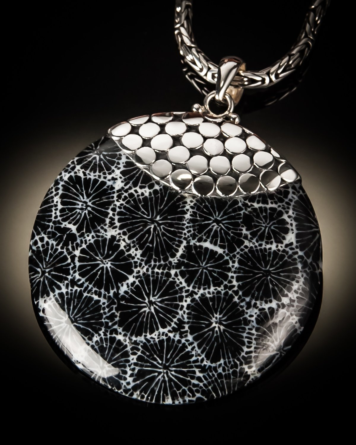 Round Sterling Silver Pendant With Famous Bali Dot Design