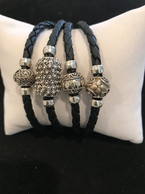 Black Leather With Bali SS Beads