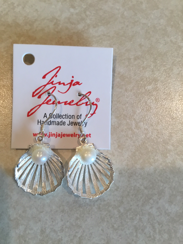 Sterling Silver Shell with Pearl Earrings