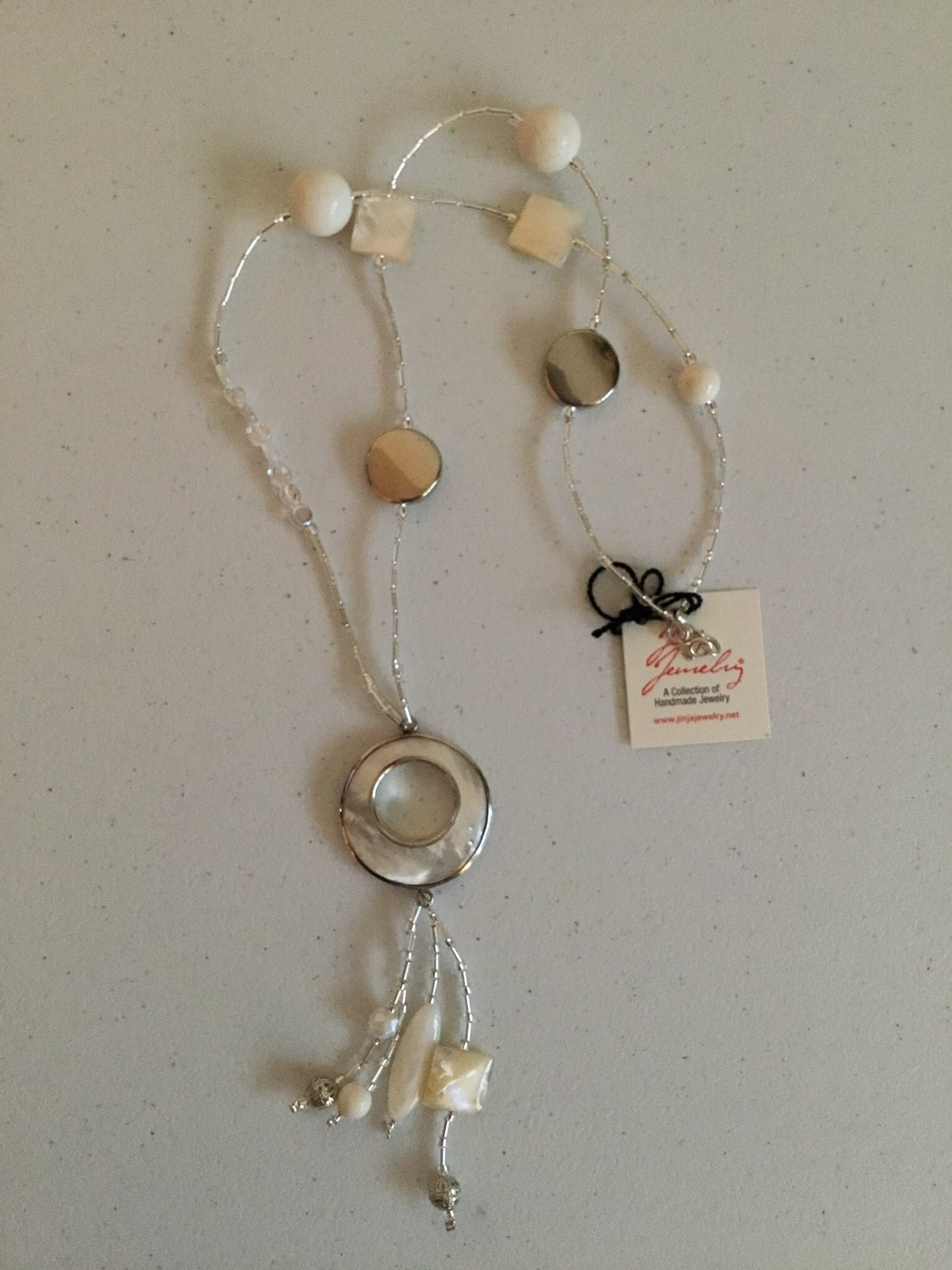 Sterling Silver Mother Of Pearl White Coral Necklace