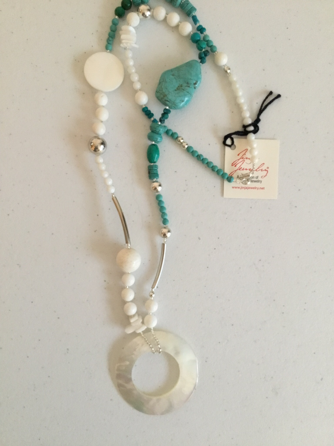 Stainless Steel Turquoise Mother of Pearl Necklace