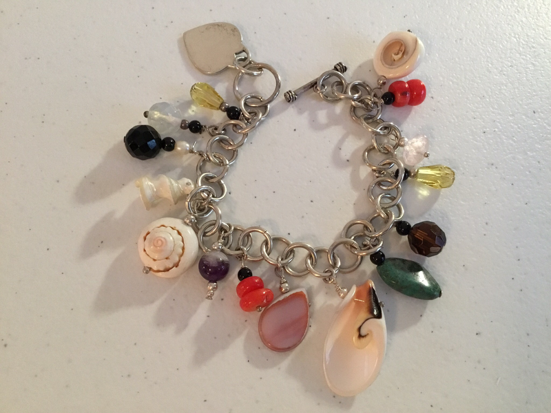 Sterling Silver Gems And Charms  Bracelet