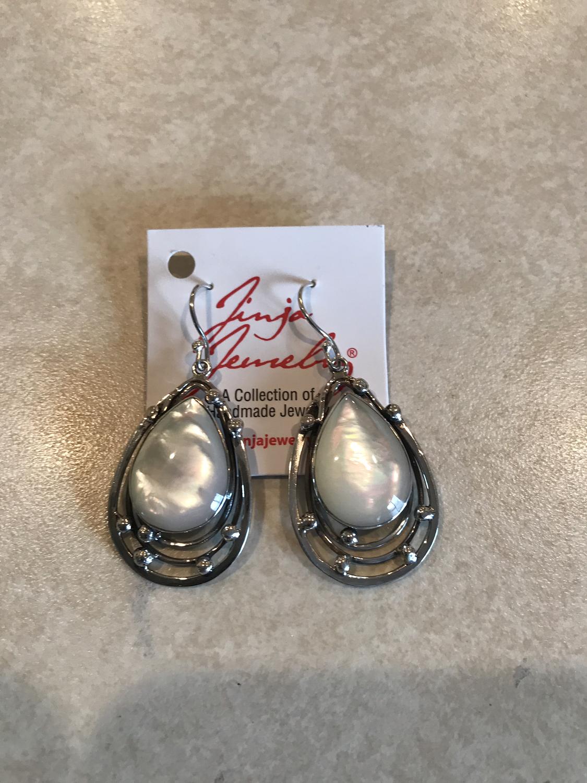 Sterling Silver Mother Of Pearl Teardrop Earrings