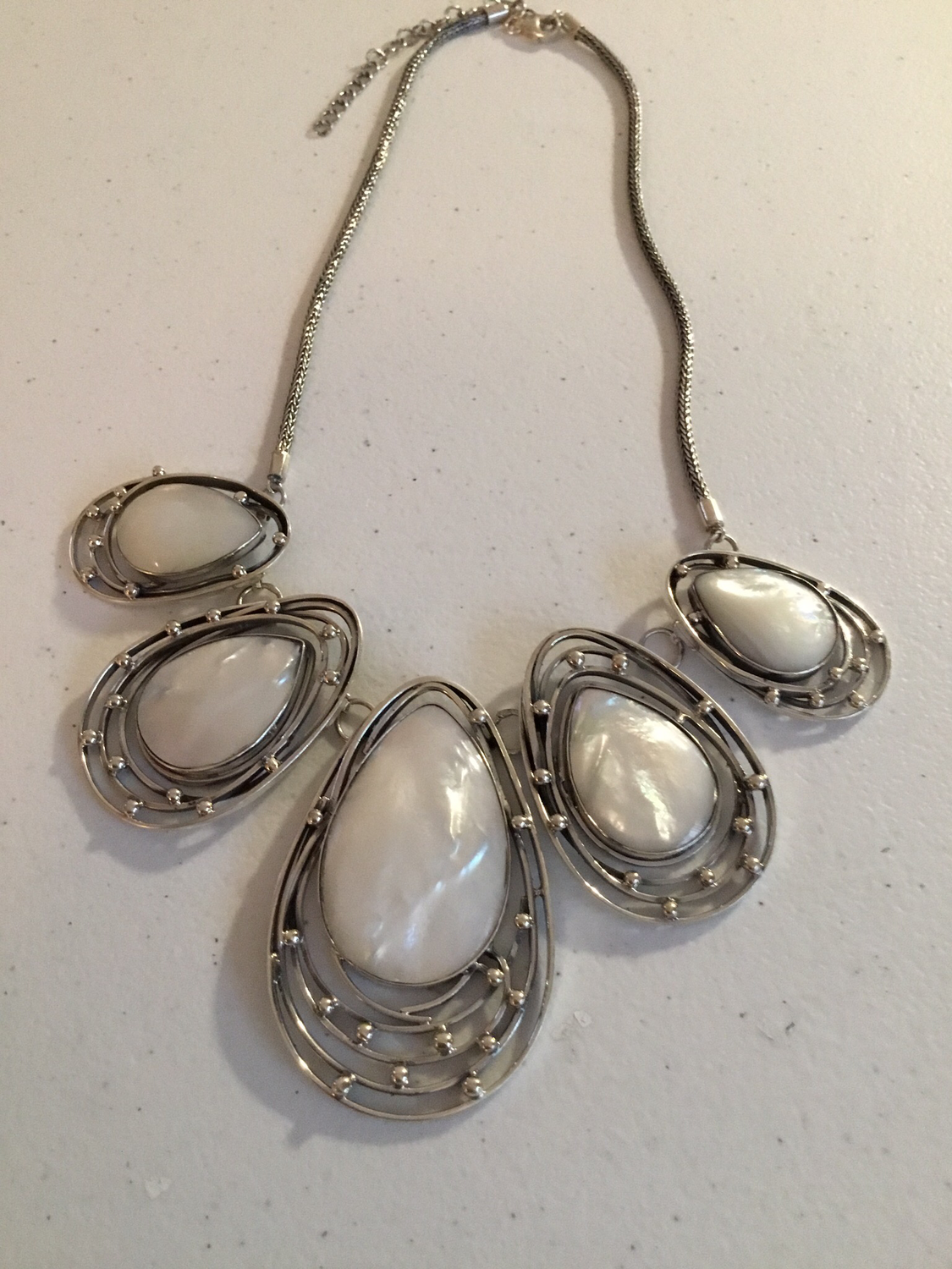 Sterling Silver Handmade Mother of Pearl Necklace