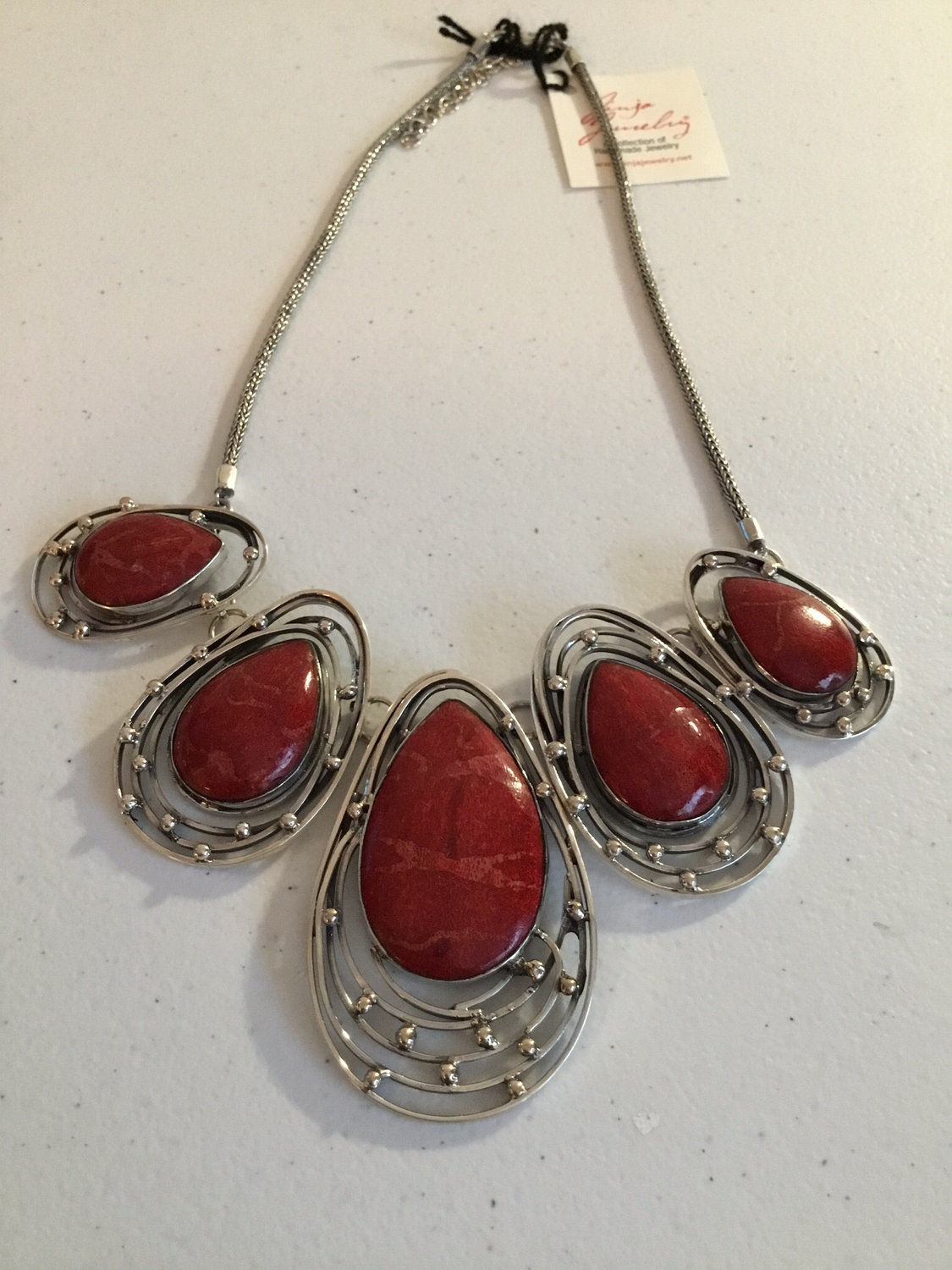 Sterling Silver Handmade Red Coral Necklace
