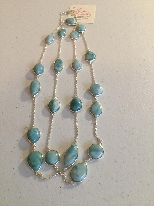Sterling Silver Handmade Long Larimar Necklace