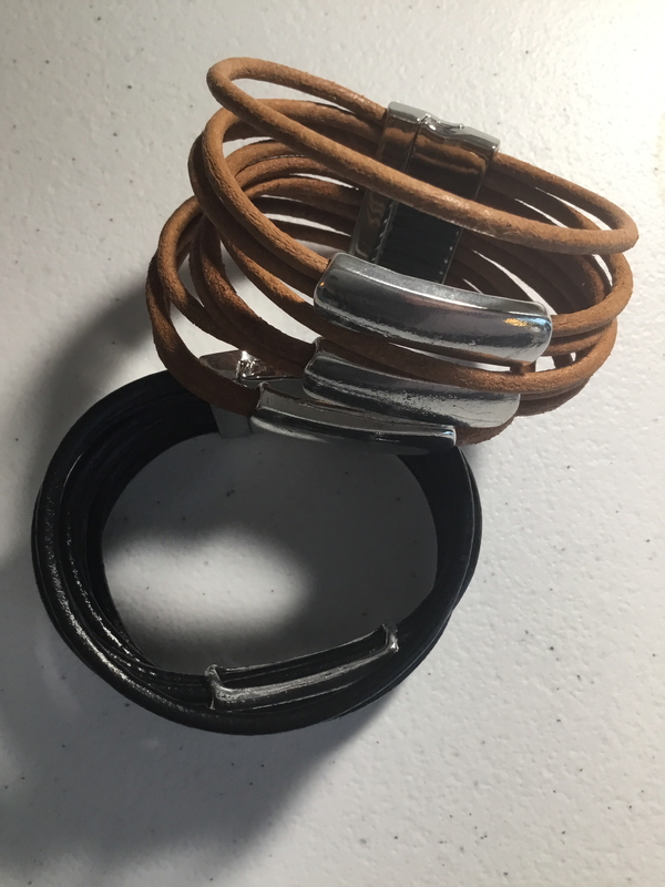 Leather Magnetic Bracelet in Black or Tan