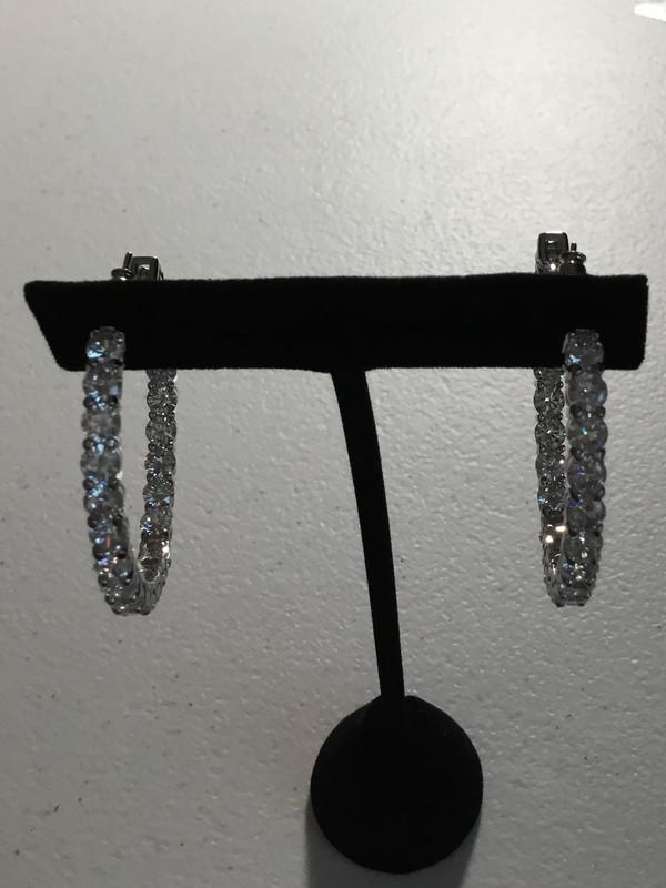 Silver Round Crystal Hoop Earrings
