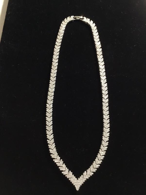 Silver Arrow Crystal Necklace