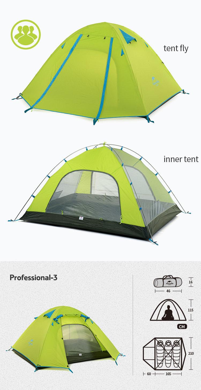 Naturehike P Series 3 Person Backpacking Tent, 3 Season c/w footprint Green