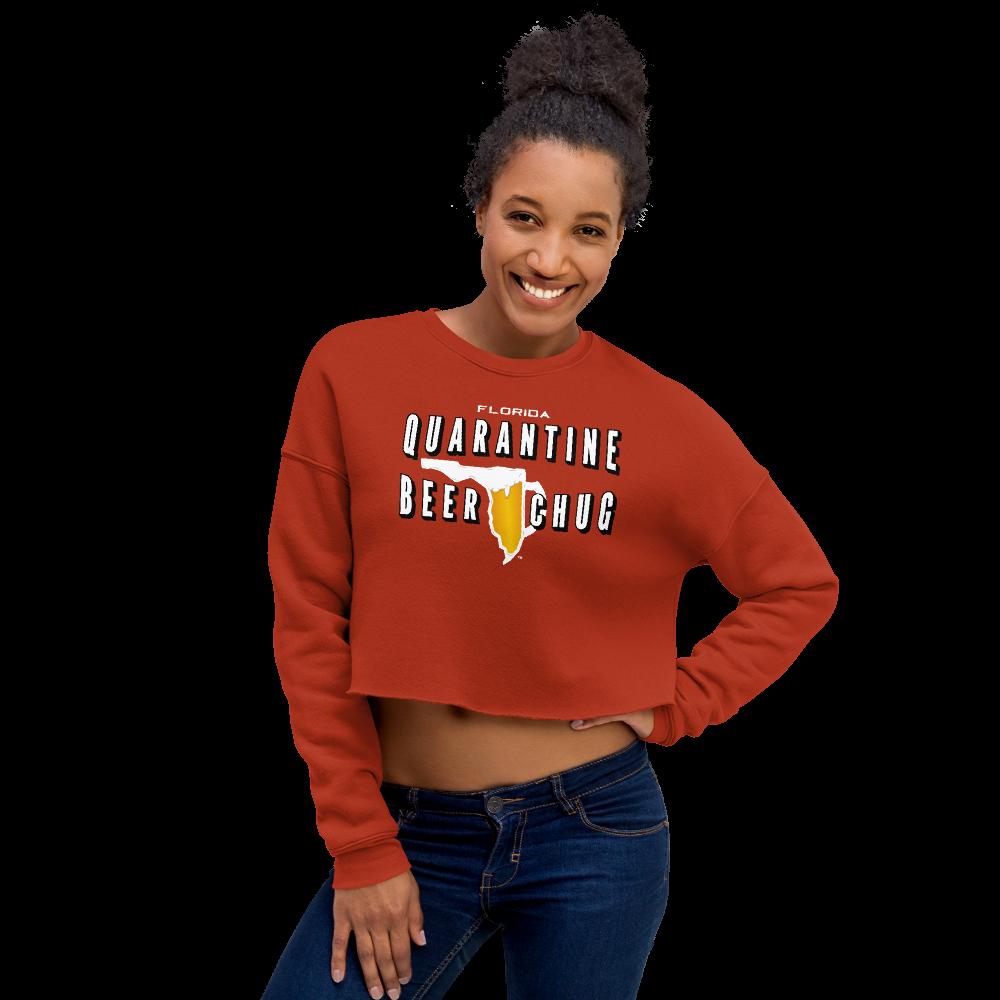 FLORIDA QUARANTINE BEER CHUG Crop Sweatshirt by FLOMAZIN