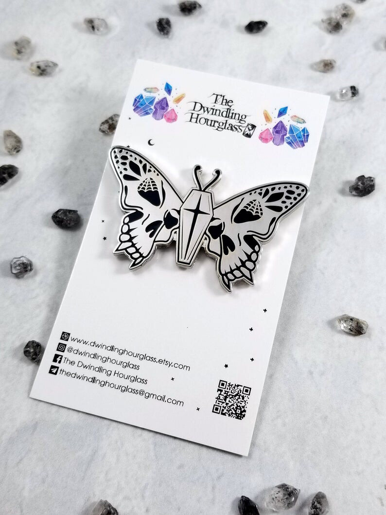 Skull Butterfly Enamel Pin by The Dwindling Hourglass