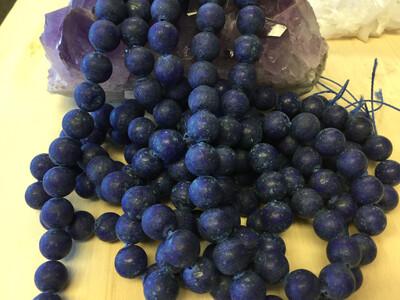 Unpolished Synthetic Lapis Lazuli Bead Strand