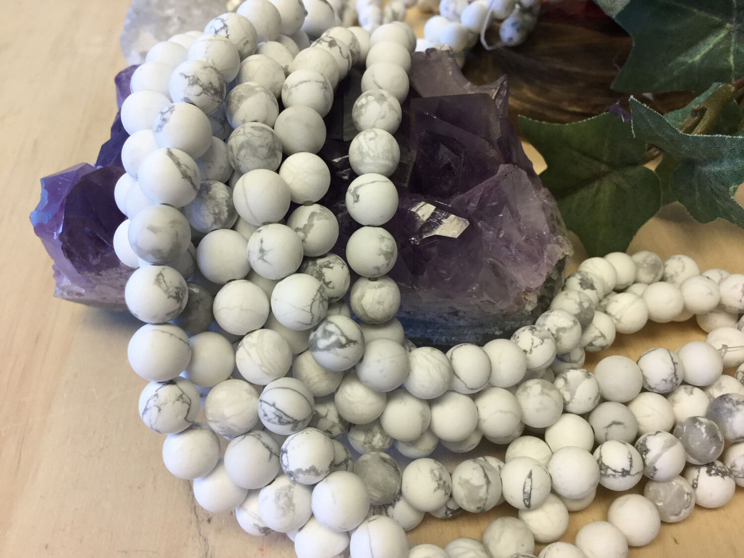 Unpolished Howlite Bead Strand