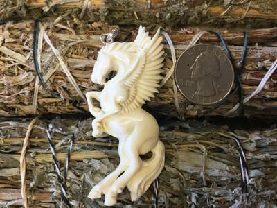 Pegasus Carved Bone Pendant