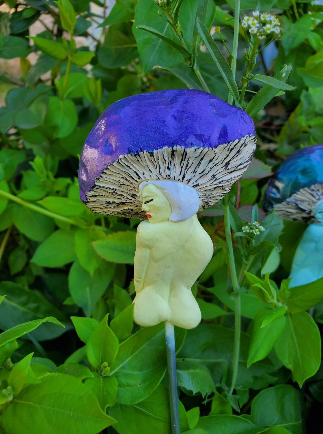 Toadstool Fairy Head Plant Stake