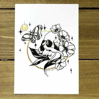 Skull & Moon Print