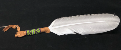 White Peacock Feather - purple and green