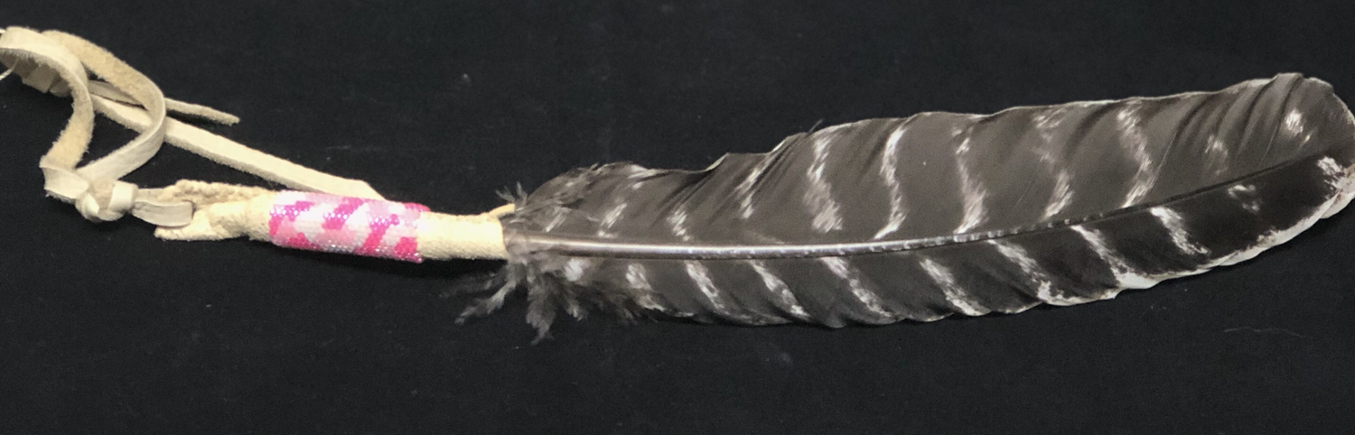 Beaded Turkey Feather - pink