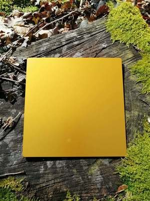 Plaque Tesla jaune-or grande