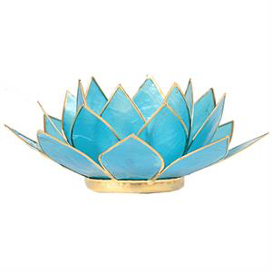 Bougeoir lotus bleu