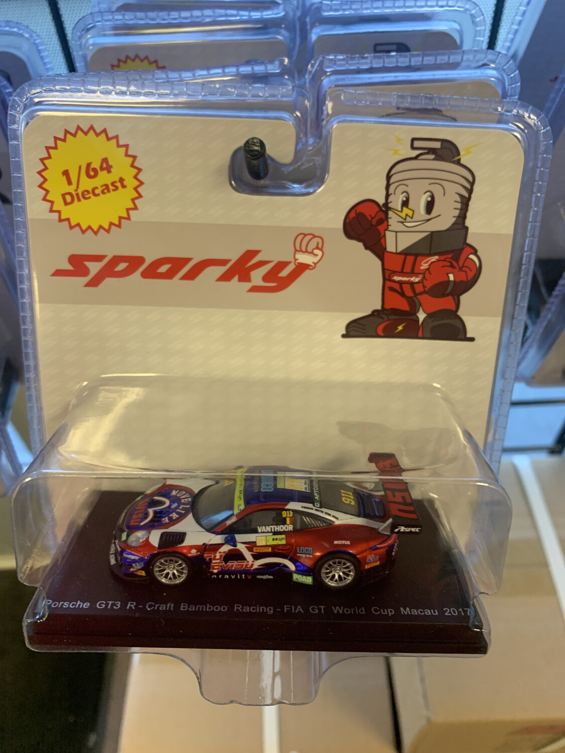 Sparky 1/64 Scale Porsche Gt3 Red Blue White