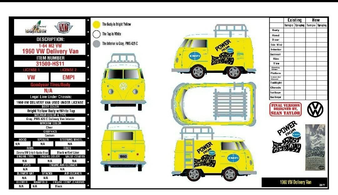 M2 Short VW Bus New Casting M2 Volkswagen 1:64 scale Release 31500- HS11