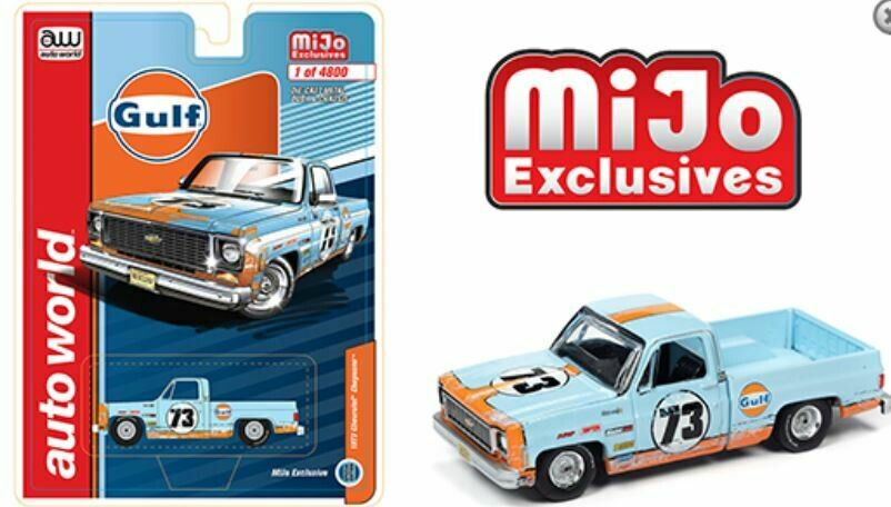 Auto World 1:64 MiJo Exclusives - 1973 Chevrolet Cheyenne Gulf weathered with livery - Limited to 4,800 pieces - PRE ORDER