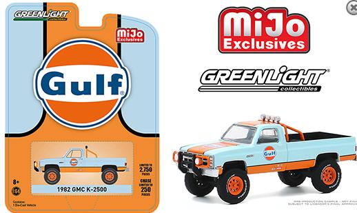 Greenlight 1:64 Mijo Exclusive 1982 GMC K-2500 Gulf Custom 4x4