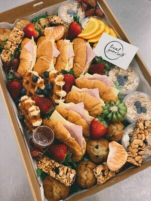 Grazing Boxes. Breakfast Orders Must Be In 48 Hours Prior To Delivery starting At $30 For 2 Person. Picture of 6 Person Box