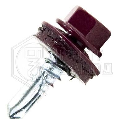 Саморез кровельный цвет винно красный 5,5*25 100 штук