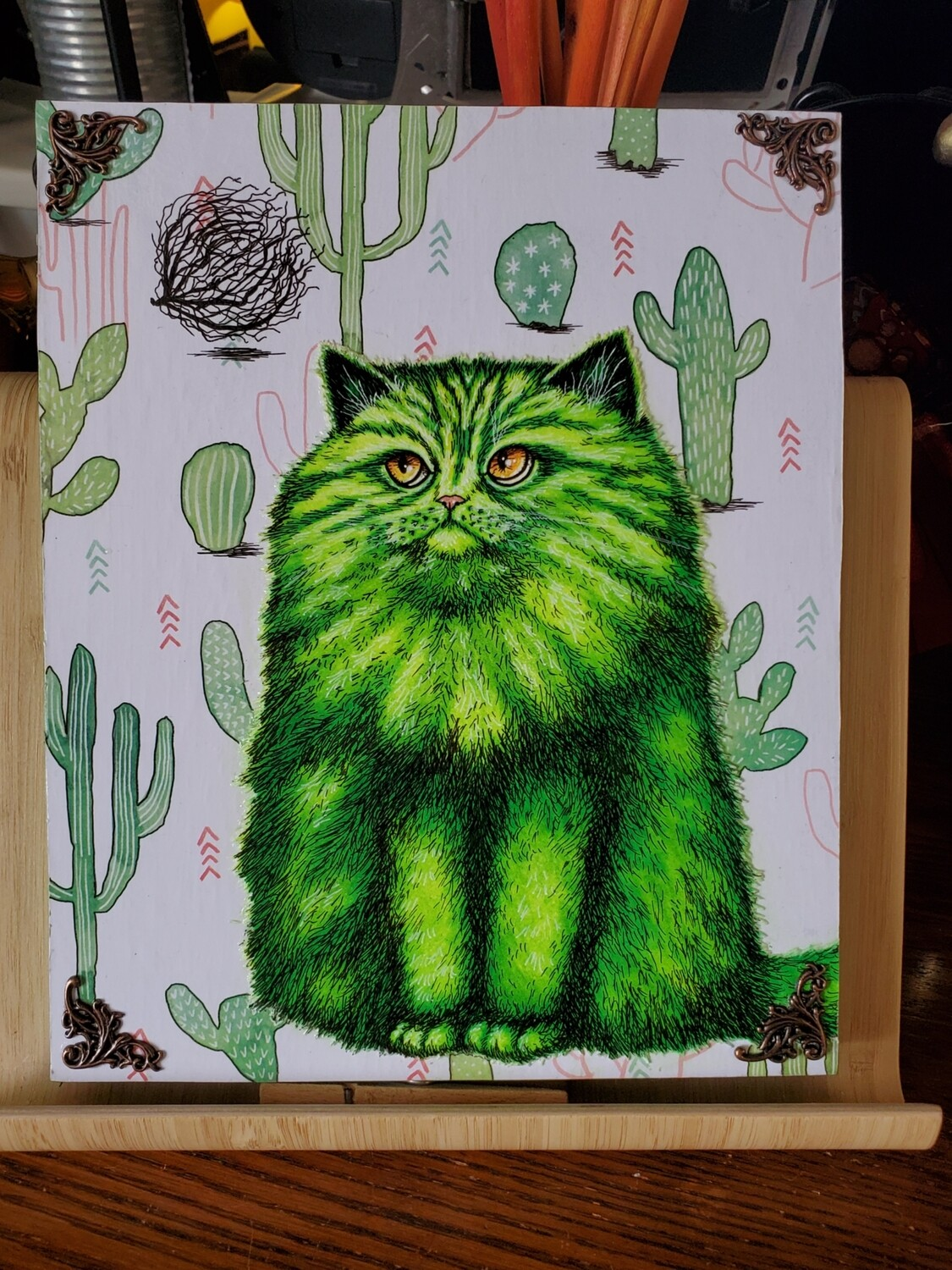 Desert Cat with Tumble Weed