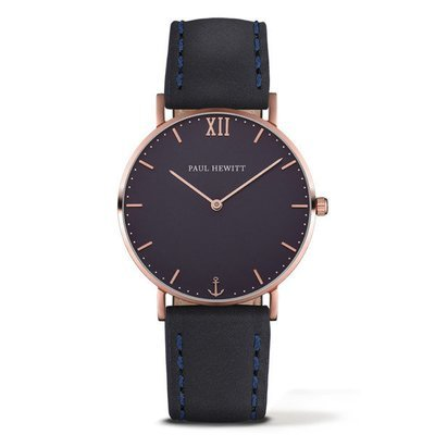 PAUL HEWITT Sailor Line Blue Lagoon IP Rose Gold Leather Watchstrap Blue Lagoon