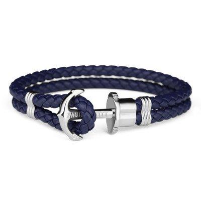 PAUL HEWITT Leather Phrep Anchor Bracelet Stainless Steel Navy Blue
