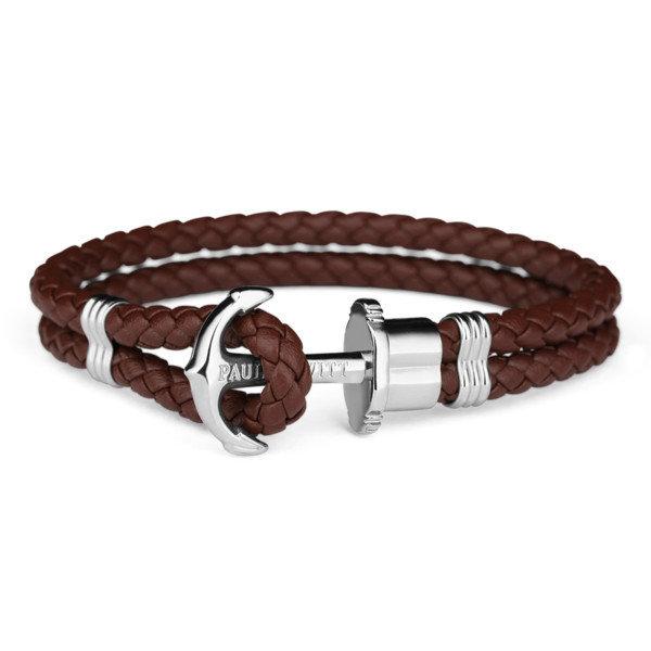 PAUL HEWITT Leather Phrep Anchor Bracelet Stainless Steel Brown