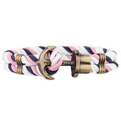 PAUL HEWITT Phrep Anchor Bracelet Brass Nylon Navy Blue-White-Pink